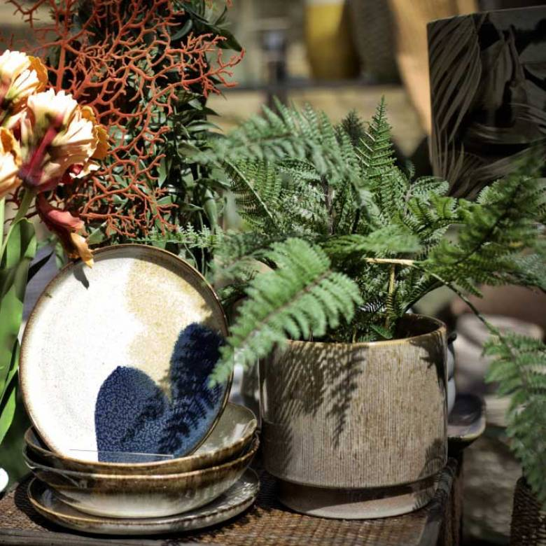Textured Ceramic Beige & Brown Planter Pot H:16cm
