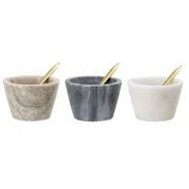 Marble Salt Jar With Spoon Various Colours 7.5x5cm