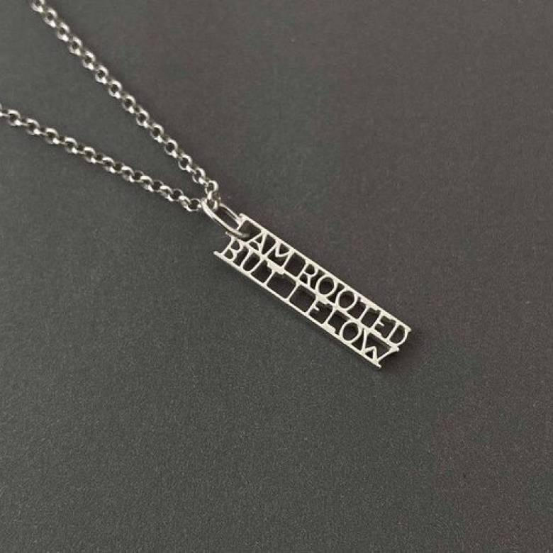 Virginia Woolf - Rooted Silver Quote Necklace By Ordbord