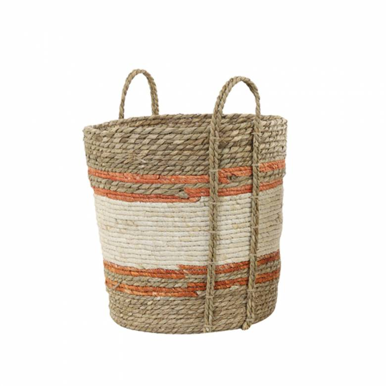 Large White & Orange Striped Natural Basket With Handles H:40cm