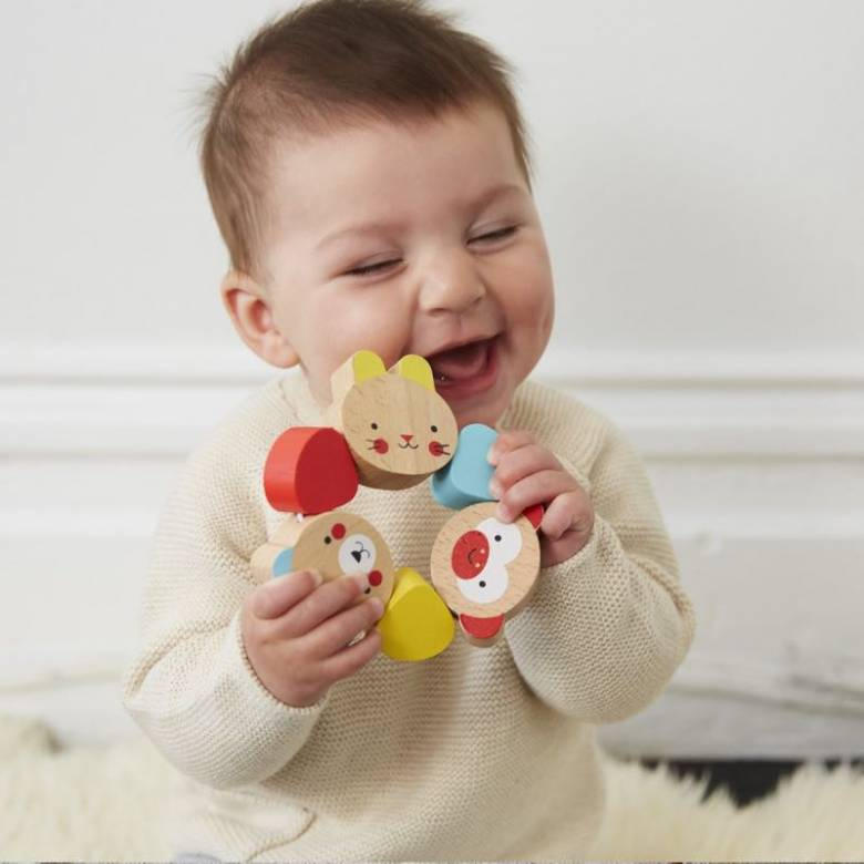 Wooden Grasping Rattle Ring 6m+