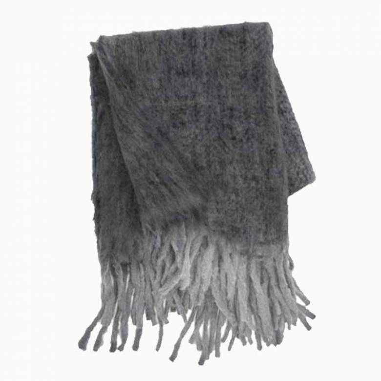 Wool Blanket With Fringing In Ash