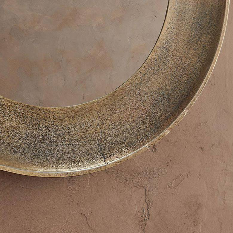 Small Circular Yakira Mirror In Antique Brass Finish