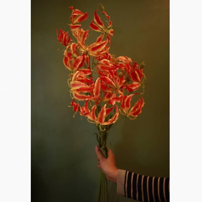 Faux Glorisa Flower Spray In Orange