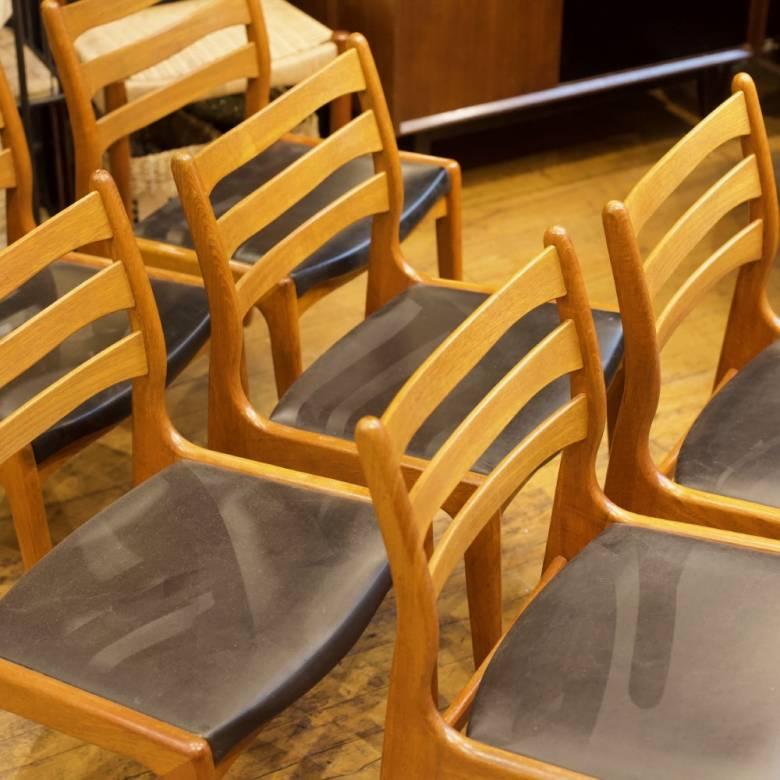 Set of 6 Mid Century Danish Teak Chairs