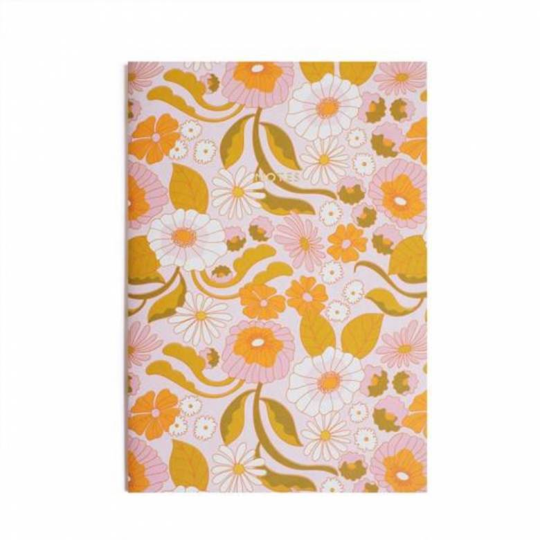 A4 Retro Floral Lined Notebook