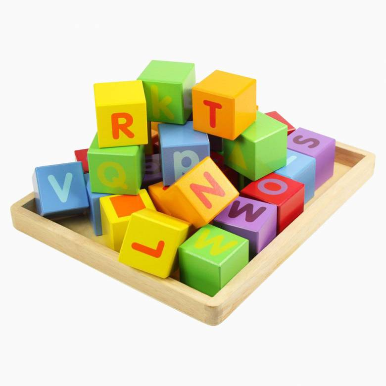 Brightly Coloured Wooden ABC Alphabet Building Blocks