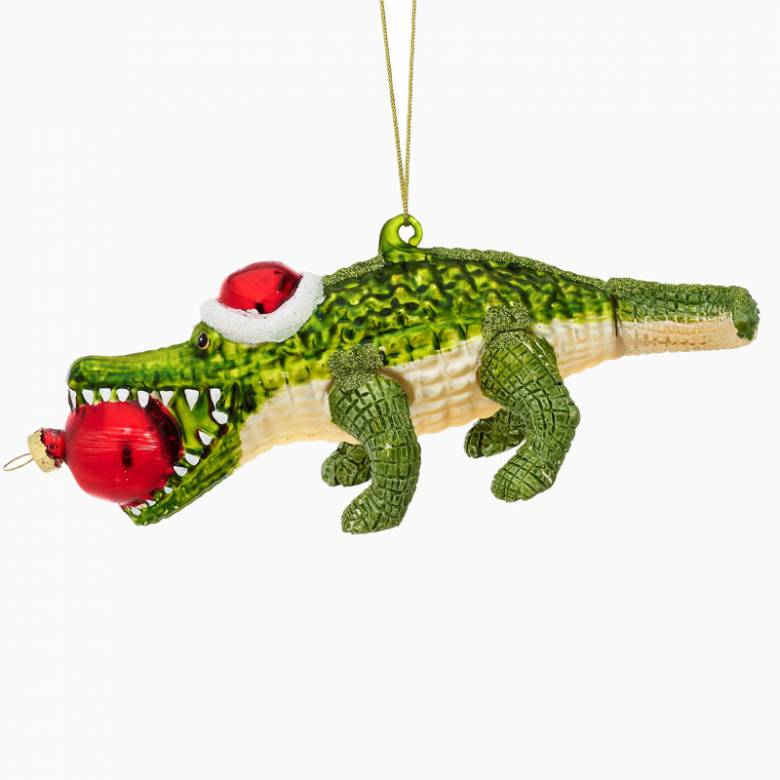 Alligator With Santa Hat Glass Christmas Decoration
