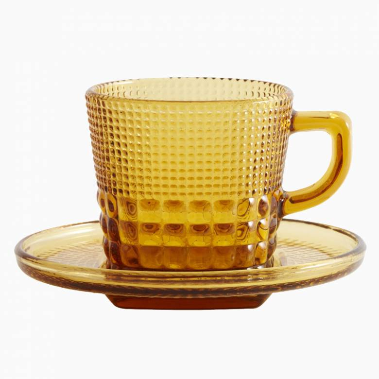 Textured Glass Cup And Saucer - Amber