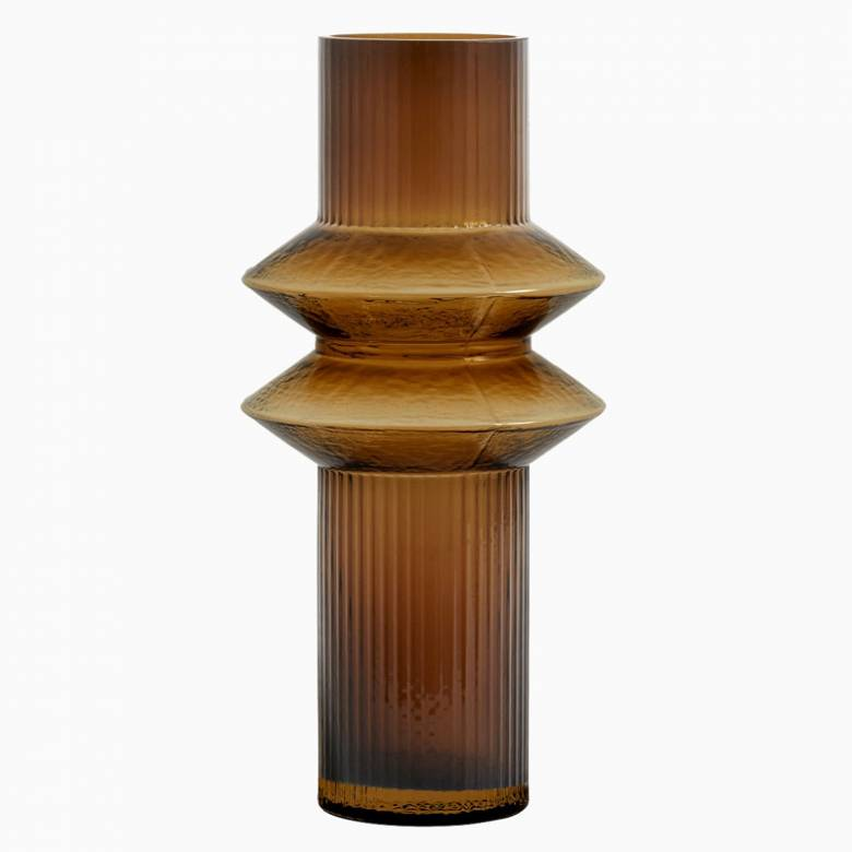 Medium Textured Glass Vase In Amber
