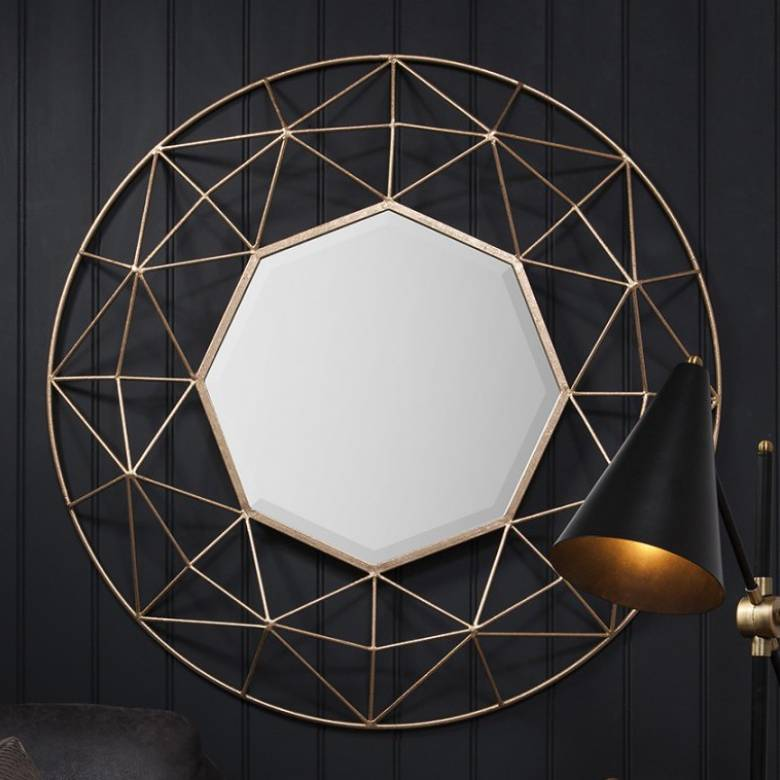Octagon Mirror Gold Wire