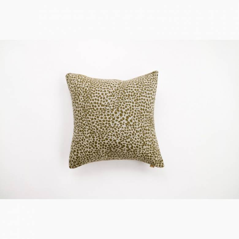 Animal Print Square Cushion In Khaki Green