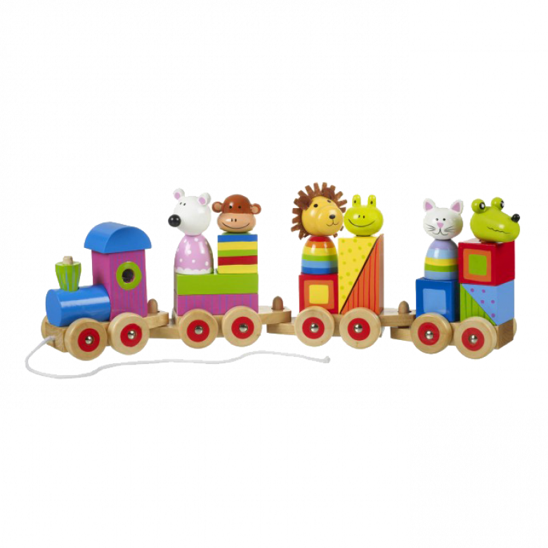 Wooden Animal Puzzle Train 1+