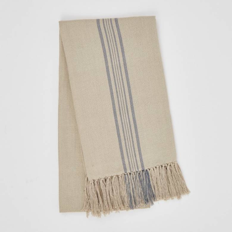 Antibes Blue Stripe Throw - Made From Recycled Plastic Bottles