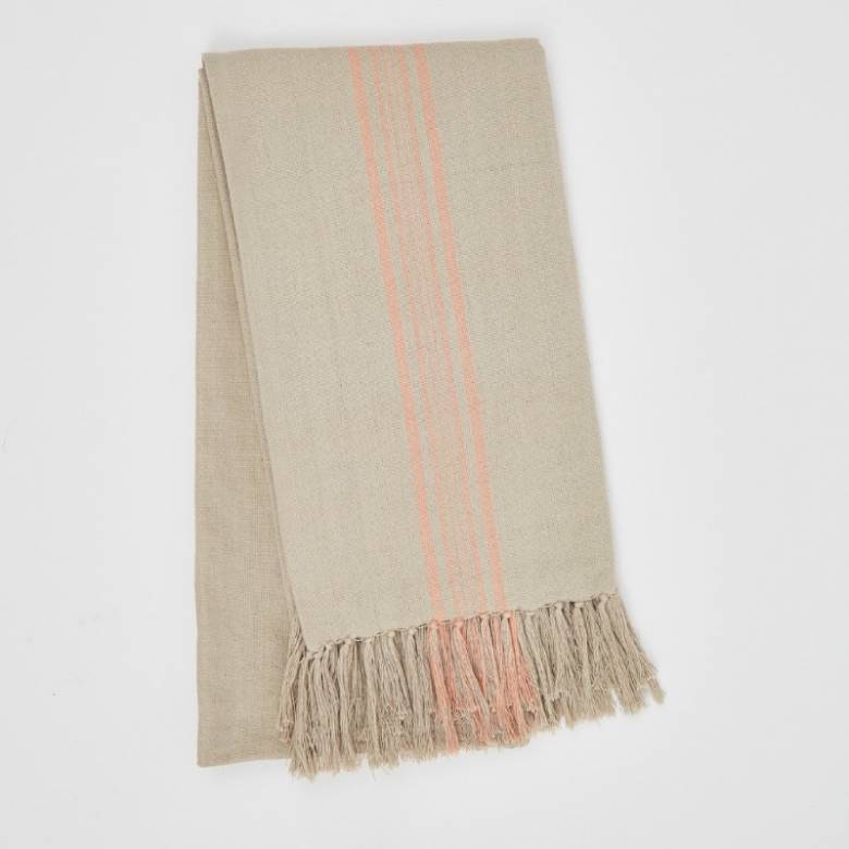 Antibes Coral Stripe Throw - Made From Recycled Plastic Bottles
