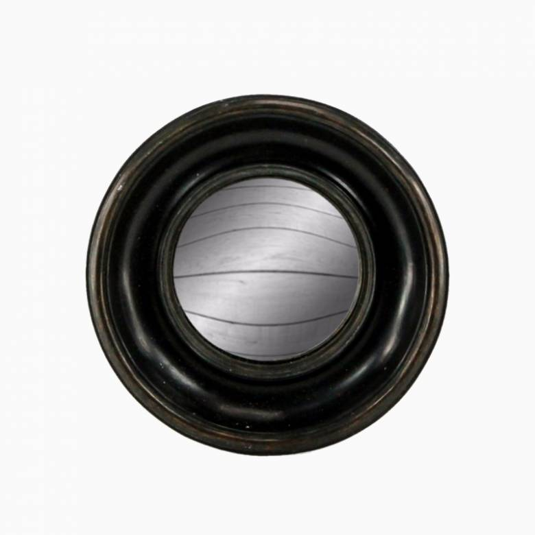 Antiqued Black Deep Framed Small Convex Mirror D:19cm