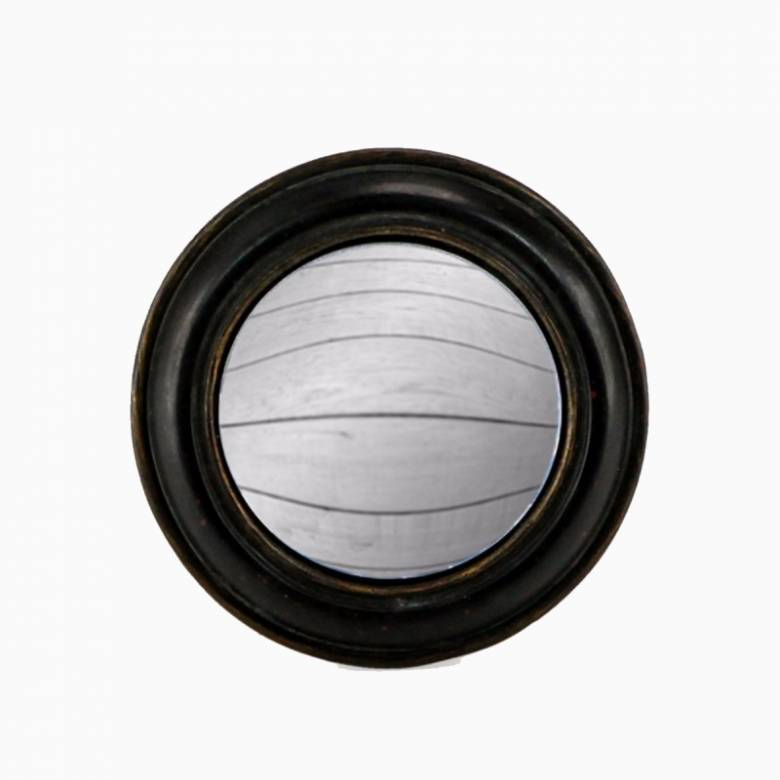 Antiqued Black Rounded Frame Small Convex Mirror D: 14cm