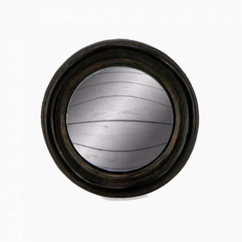 Antiqued Black Thin Framed Extra Small Convex Mirror D:9.5cm