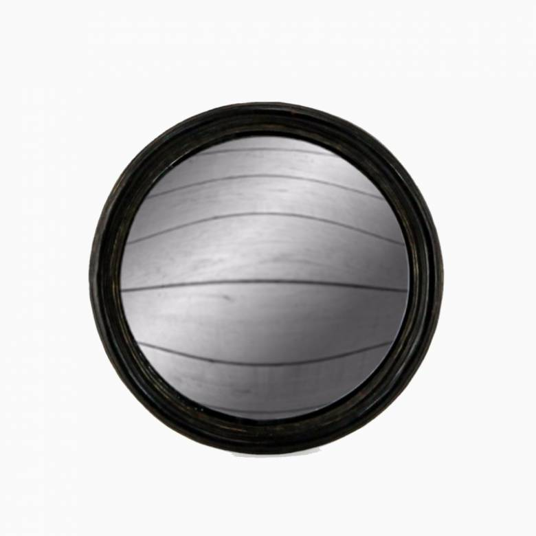 Antiqued Black Thin Framed Medium Convex Mirror D: 17cm