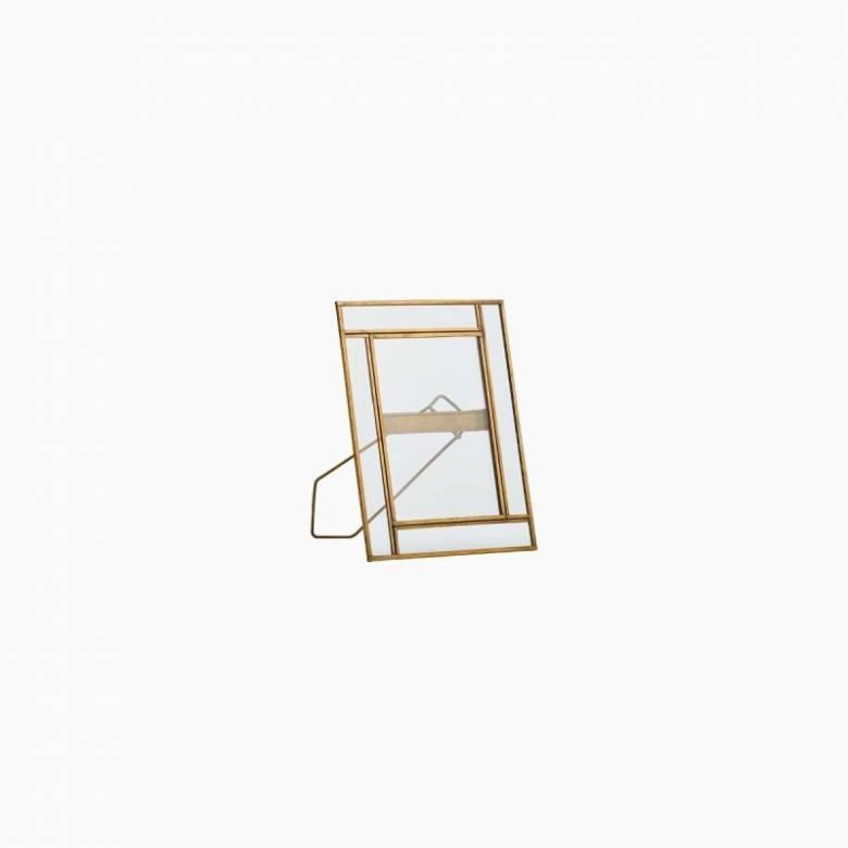 "Antiqued Geometric Standing Brass Frame 5x7"""