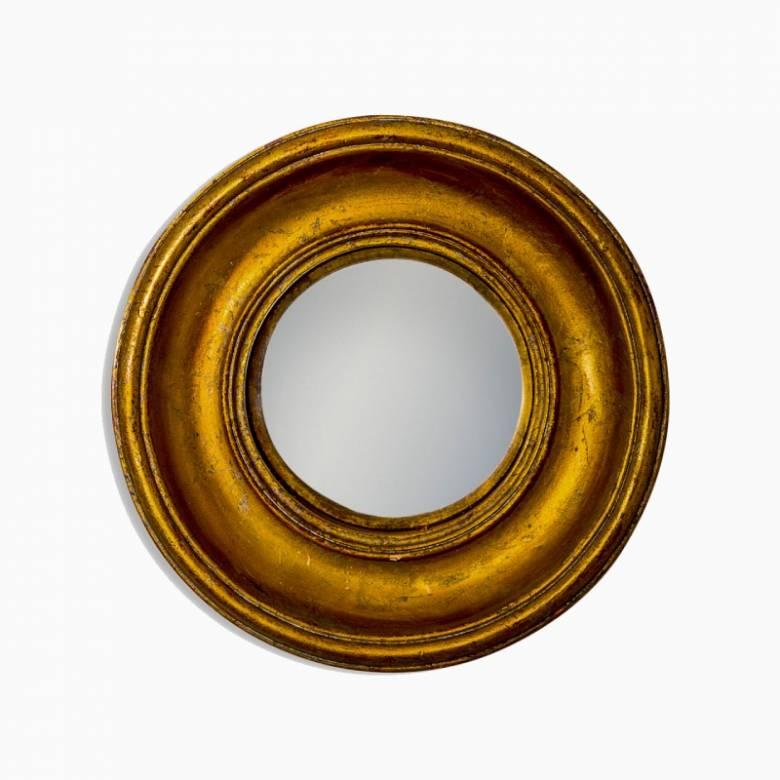 Antiqued Gold Deep Framed Small Convex Mirror D:19cm
