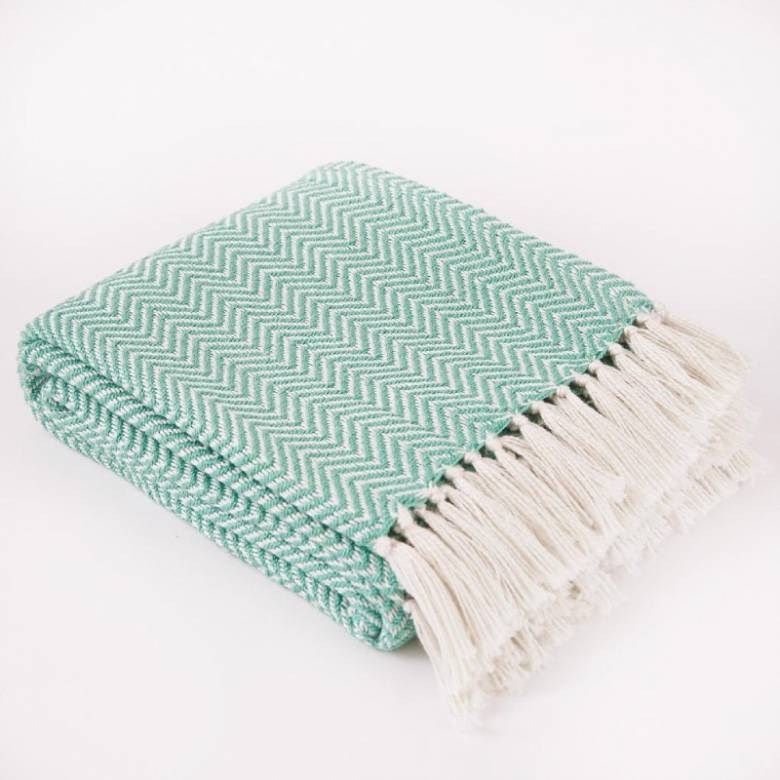Aqua Herringbone Blanket - Made From Recycled Plastic Bottles