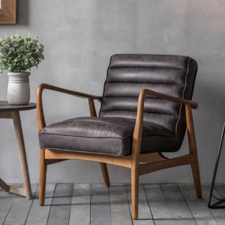 Auto Ebony Black Leather and Oak Armchair