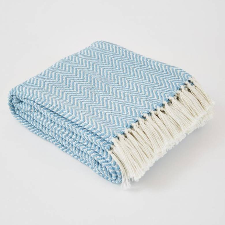 Azure Herringbone Blanket - Made From Recycled Plastic Bottles