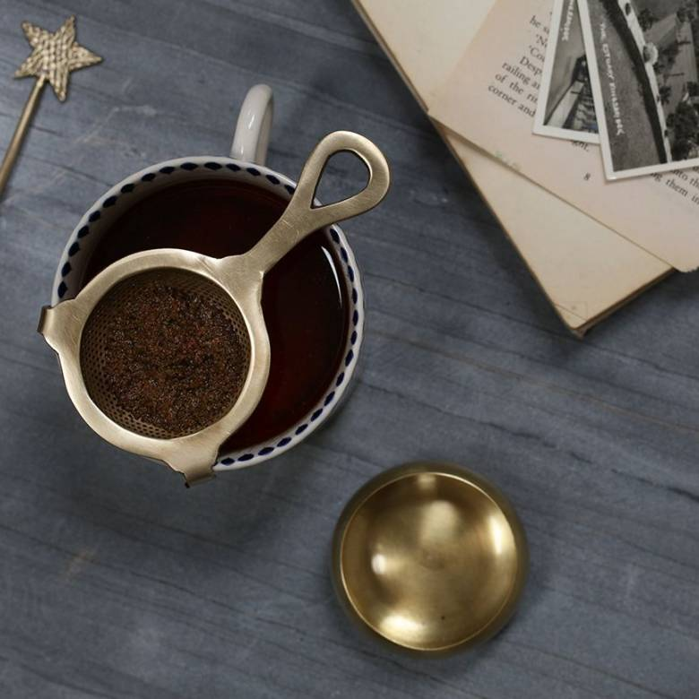 Antiqued Brass Tea Strainer With Stand