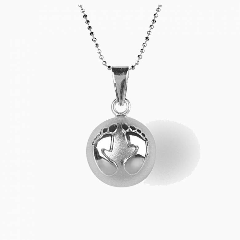 Silver Chiming Ball Necklace With Baby Feet Design