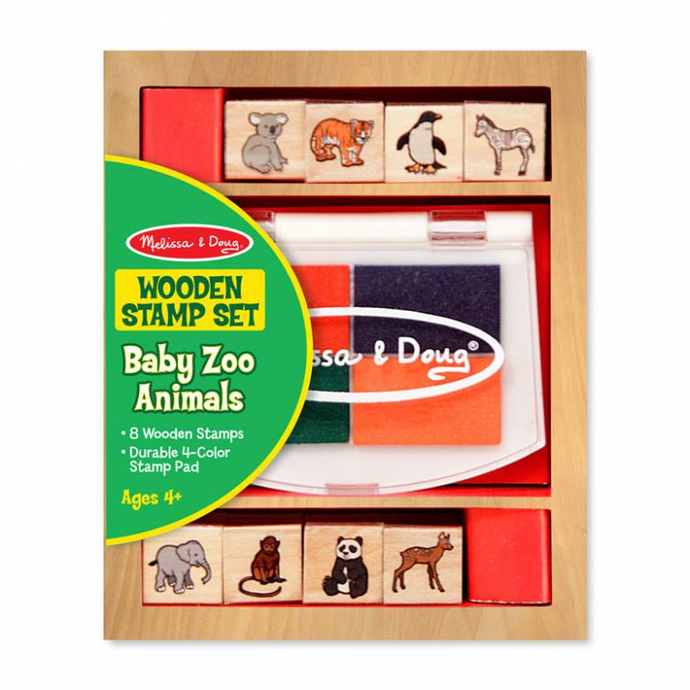 Wooden Stamp Set - Baby Zoo Animals 4+