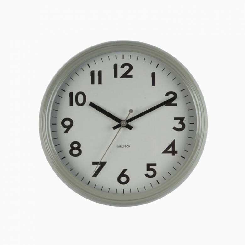 Badge Warm Grey Metal Wall Clock