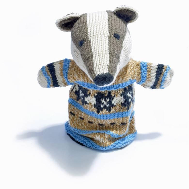 Badger - Hand Knitted Glove Puppet Organic Cotton