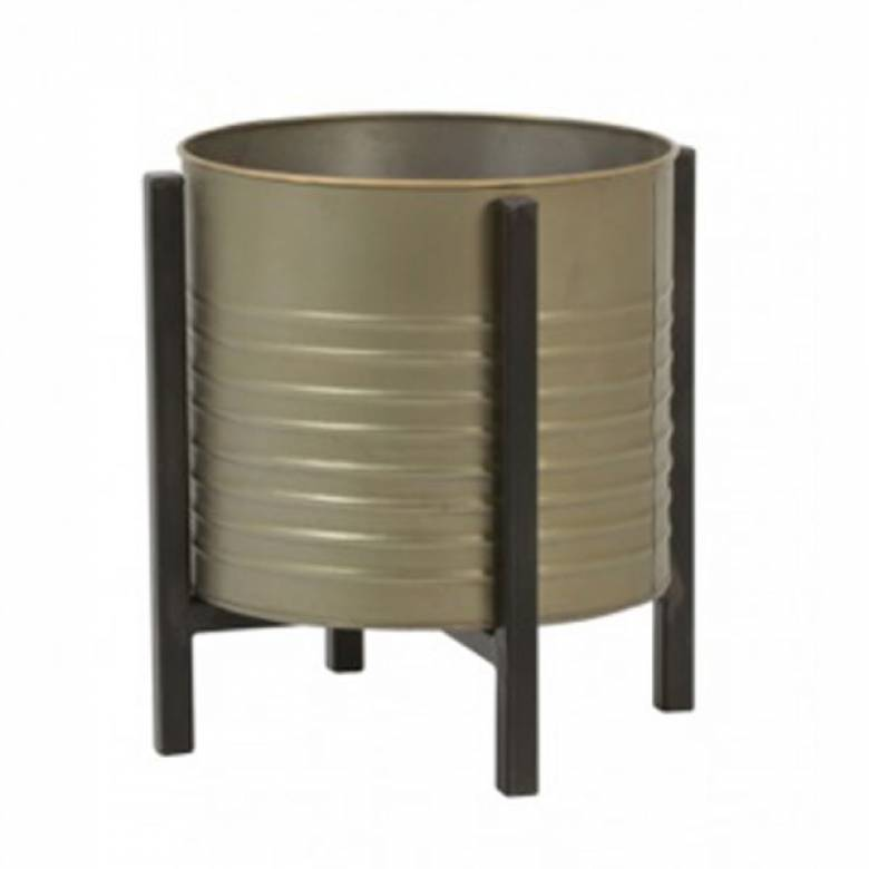 Barrel Bin On Legs Bronze Tin