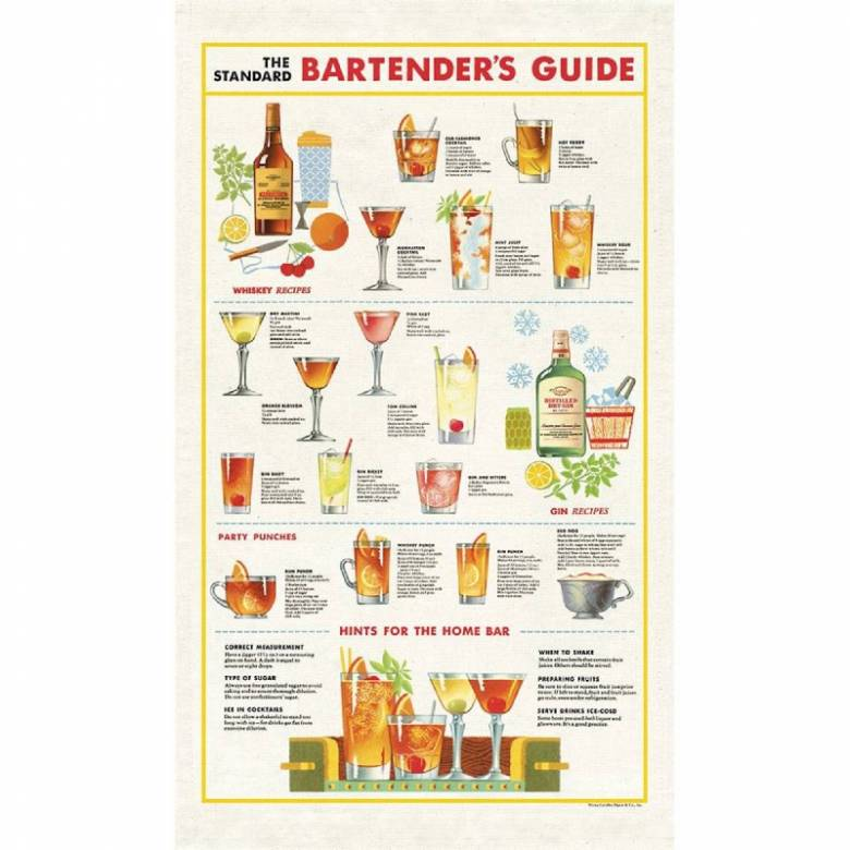 Bartender's Guide Cotton Tea Towel With Gift Bag