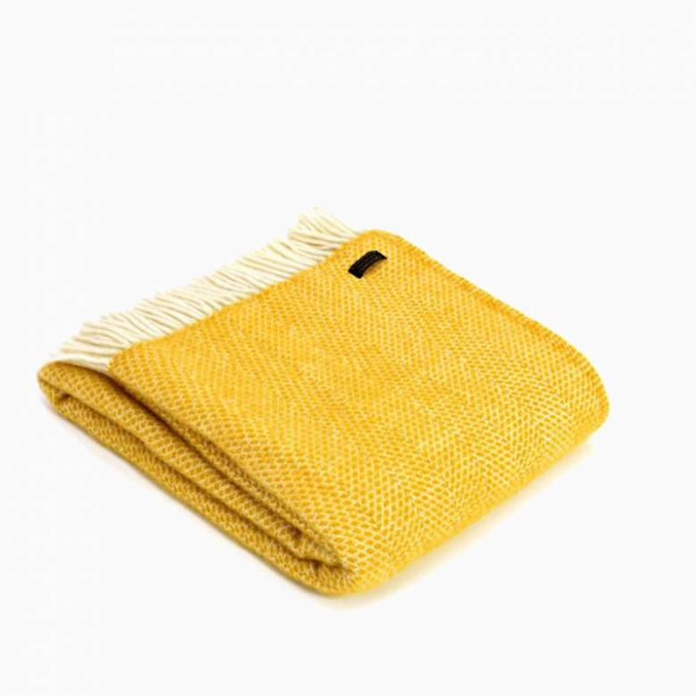 Yellow Beehive Knee Blanket Wool Throw 70cm x 183cm