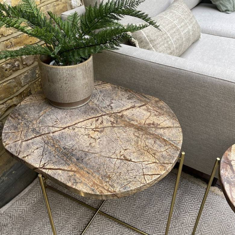 Large Oval Brown Marble Table On Gold Legs