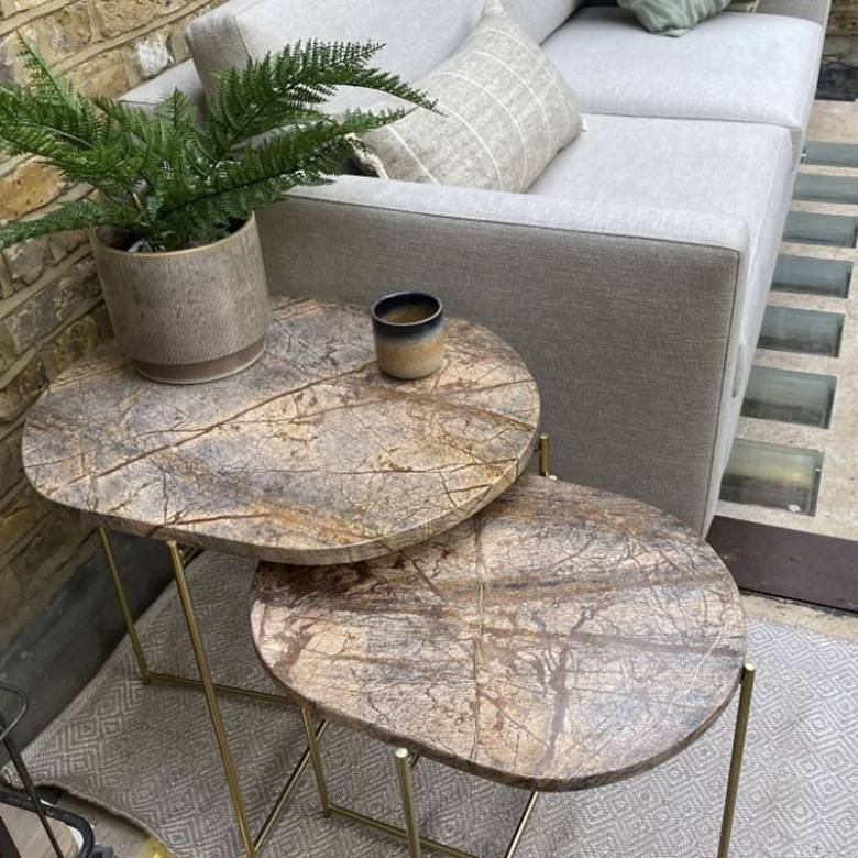 Small Oval Brown Marble Table On Gold Legs