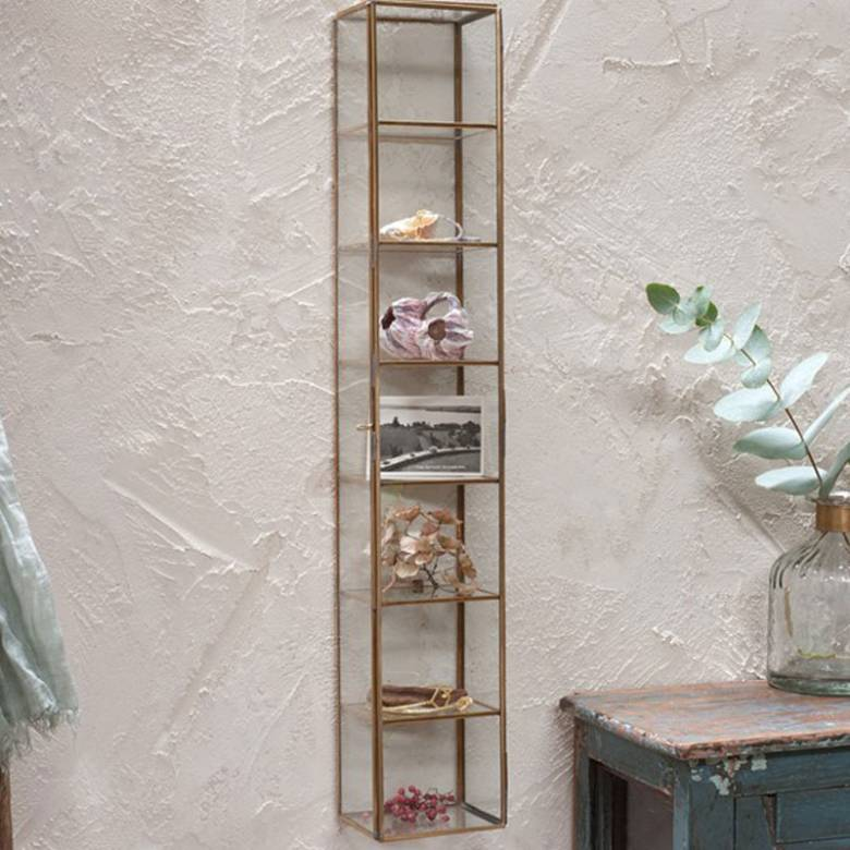 Bequai Brass And Glass Wall Cabinet
