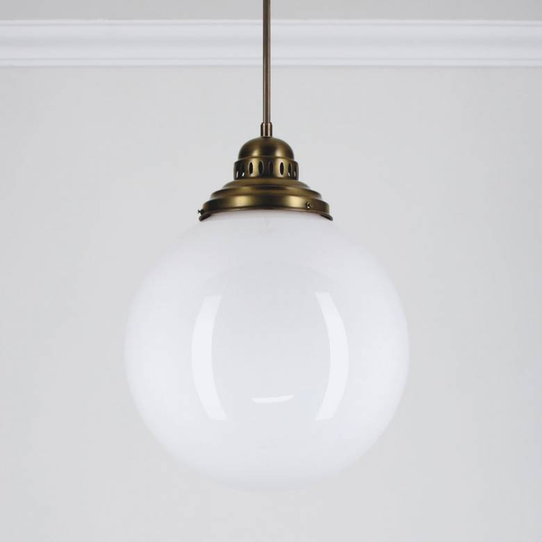 Large Brass Deco Globe Ceiling Lamp/ Light 35cm.