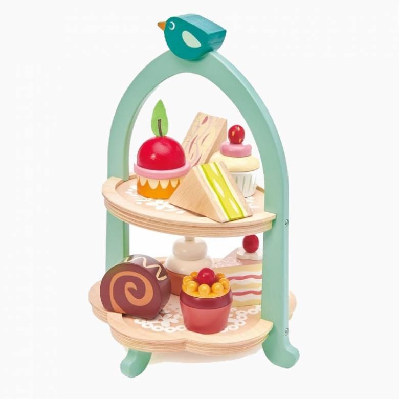 Birdie Afternoon Tea Stand Wooden Play Food Set 3+
