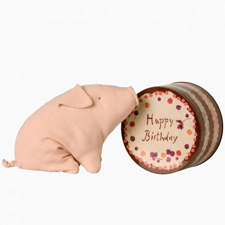 Birthday Pig Soft Toy In Cake Tin