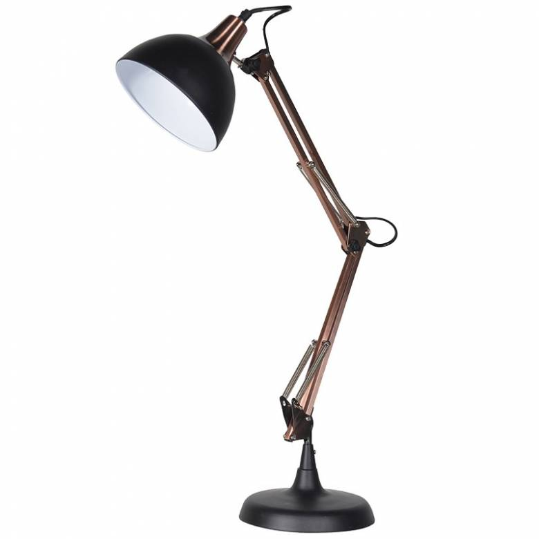 Vintage Style Black & Copper Large Desk Lamp