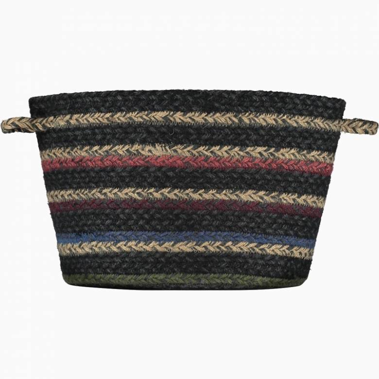 Small Black & Multi Coloured Stripe Jute Basket 18x23cm