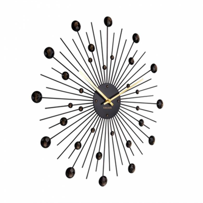 Sunburst Crystal Black Wall Clock 50cm