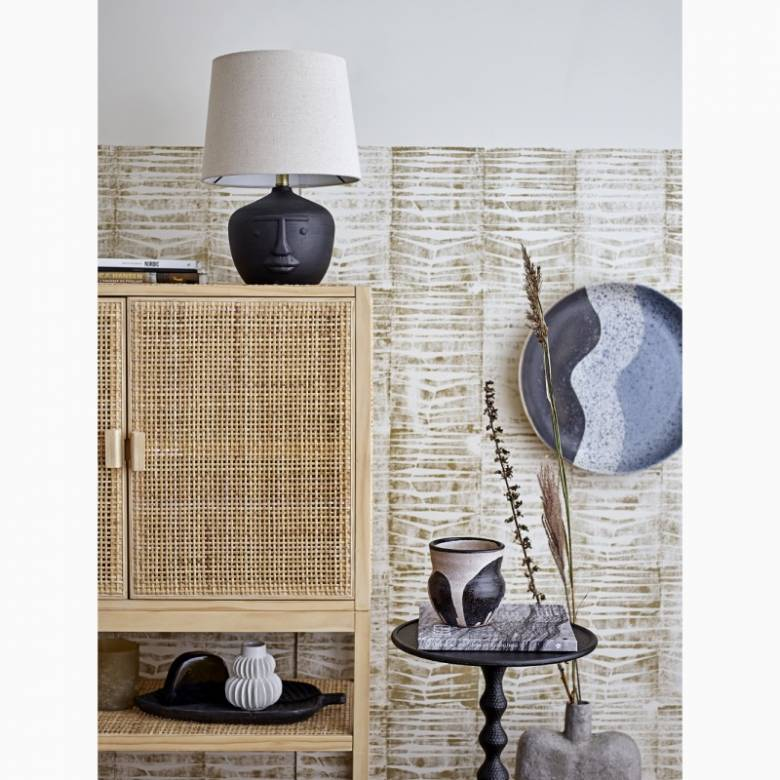 Black Terracotta Table Lamp With Face Imprint