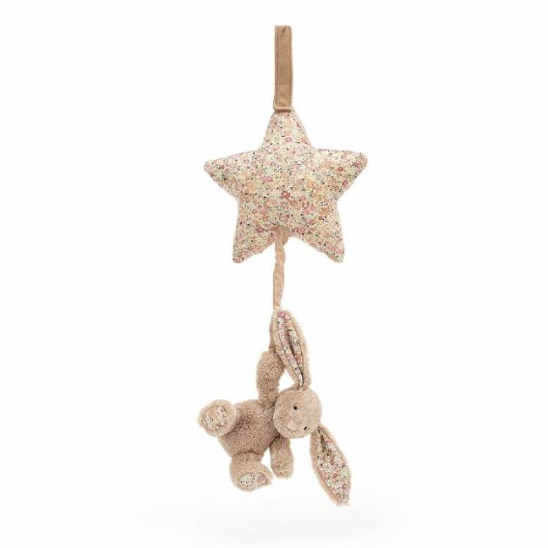 Blossom Bea Beige Bunny Musical Pull By Jellycat