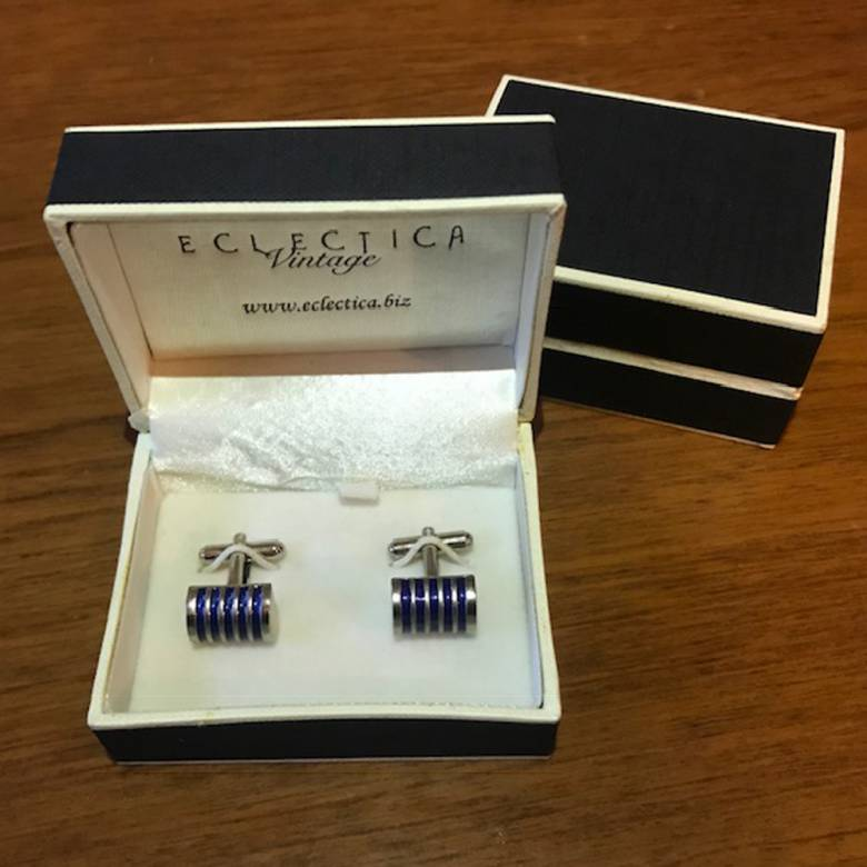 Vintage 1980s Ribbed Blue Enamel Metal Cufflinks