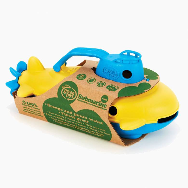 Yellow Submarine With Blue Handle By Green Toys 6m+