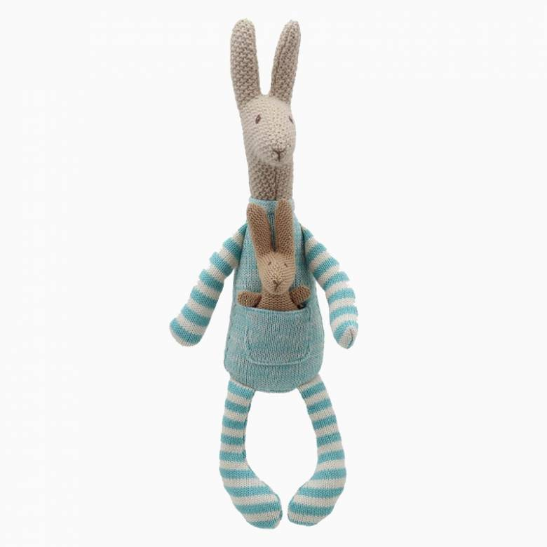 Blue Knitted Kangaroo And Joey Soft Toy 0+